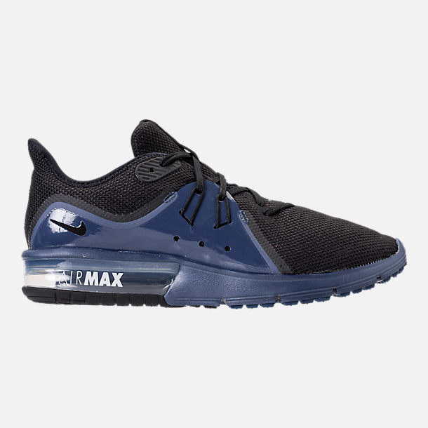 Right view of Men's Nike Air Max Sequent 3 SE Running Shoes in Black/Black/Navy Blue/White