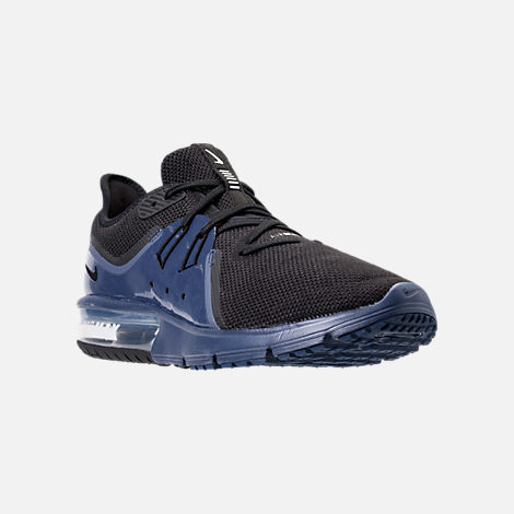 Three Quarter view of Men's Nike Air Max Sequent 3 SE Running Shoes in Black/Black/Navy Blue/White