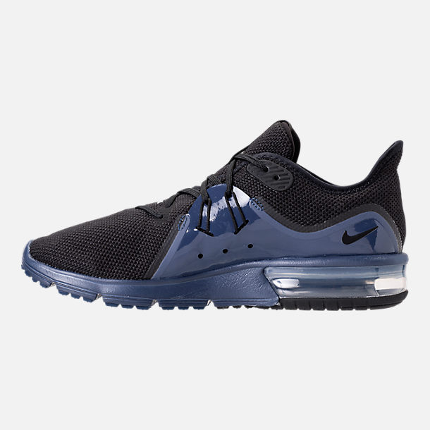 Left view of Men's Nike Air Max Sequent 3 SE Running Shoes in Black/Black/Navy Blue/White