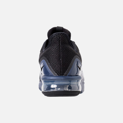 Back view of Men's Nike Air Max Sequent 3 SE Running Shoes in Black/Black/Navy Blue/White