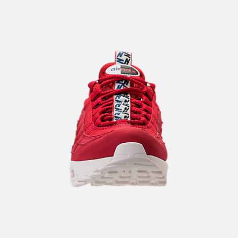 Front view of Men's Nike Air Max 95 TT Casual Shoes in Red/White/Blue