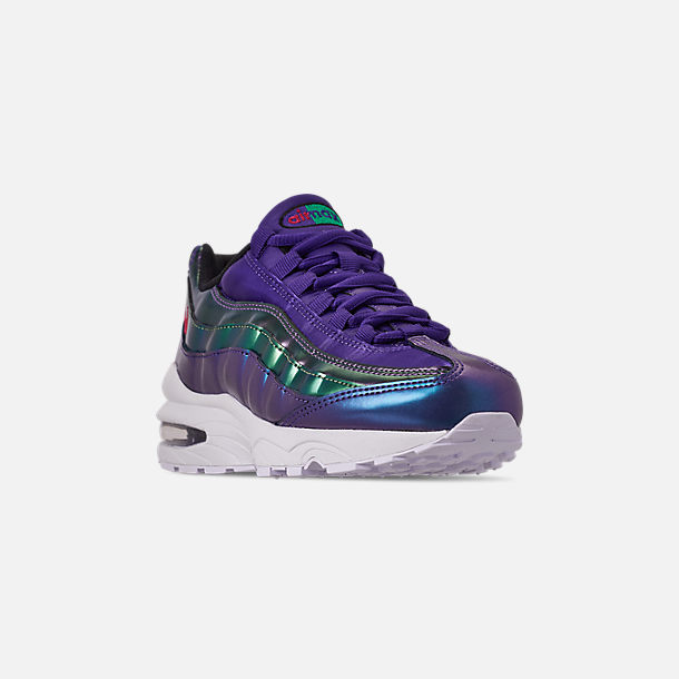 Three Quarter view of Girls' Big Kids' Nike Air Max 95 SE Casual Shoes