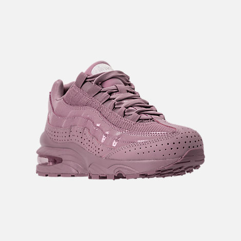 Three Quarter view of Girls' Grade School Nike Air Max 95 SE Casual Shoes in Elemental Rose/Elemental Rose