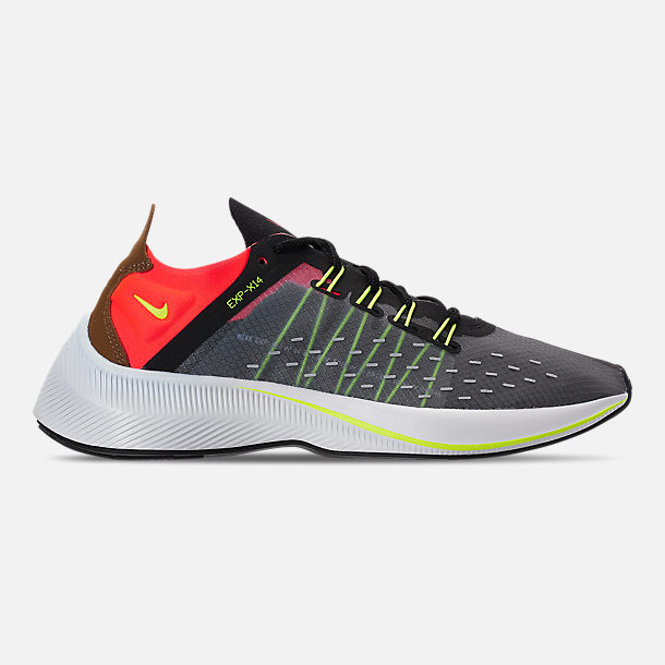 Right view of Boys' Big Kids' Nike EXP-X14 Running Shoes in Black/Volt/Total Crimson/Dark Grey