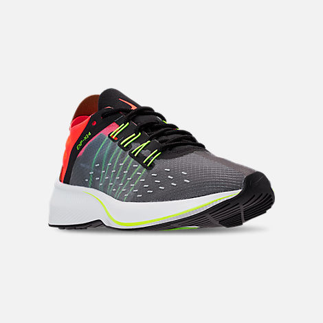 Three Quarter view of Boys' Big Kids' Nike EXP-X14 Running Shoes in Black/Volt/Total Crimson/Dark Grey