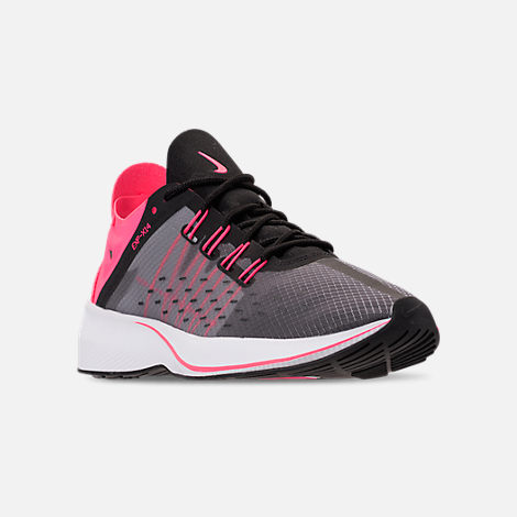 Three Quarter view of Girls' Grade School Nike Future Fast Racer Running Shoes in Black/Racer Pink/Dynamic Yellow