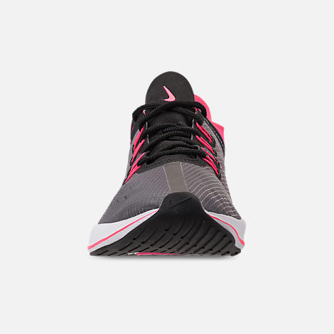 Front view of Girls' Big Kids' Nike Future Fast Racer Running Shoes in Black/Racer Pink/Dynamic Yellow