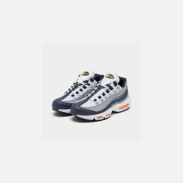 Three Quarter view of Men's Nike Air Max 95 SE Casual Shoes in Midnight Navy/Laser Orange/White