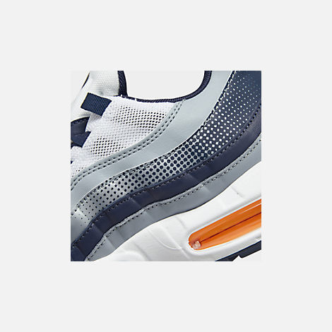Front view of Men's Nike Air Max 95 SE Casual Shoes in Midnight Navy/Laser Orange/White