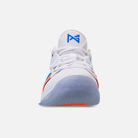 Front view of Men's Nike PG 2 Basketball Shoes in White/Multicolor