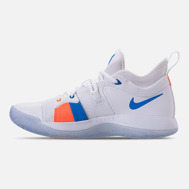 Left view of Men's Nike PG 2 Basketball Shoes in White/Multicolor