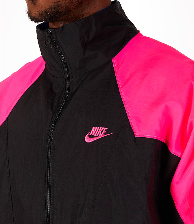 Detail 1 view of Men's Nike Sportswear Vaporwave Wind Jacket in Black/Hyper Pink