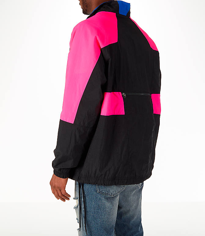 Back Left view of Men's Nike Sportswear Vaporwave Wind Jacket in Black/Hyper Pink