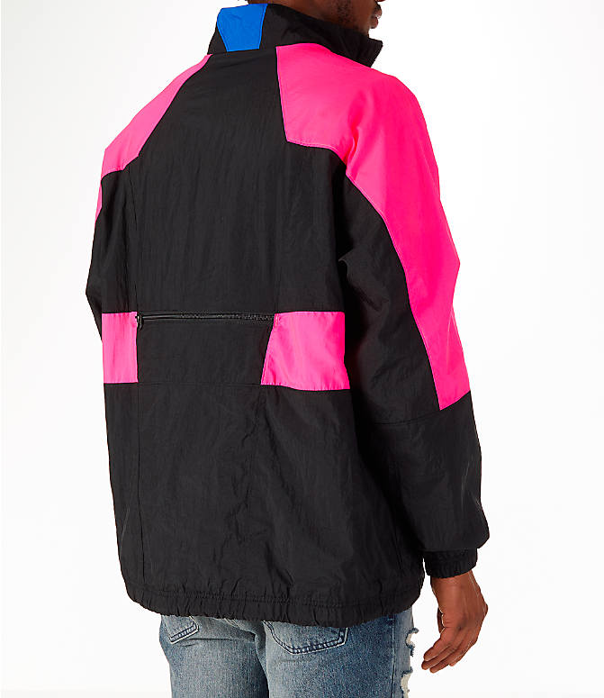 Back Right view of Men's Nike Sportswear Vaporwave Wind Jacket in Black/Hyper Pink