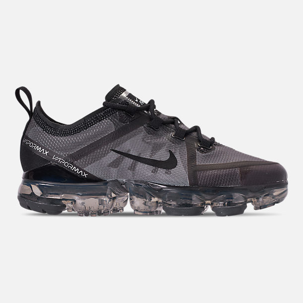 Right view of Big Kids' Nike Air VaporMax 2019 Running Shoes in Black/Black/Black