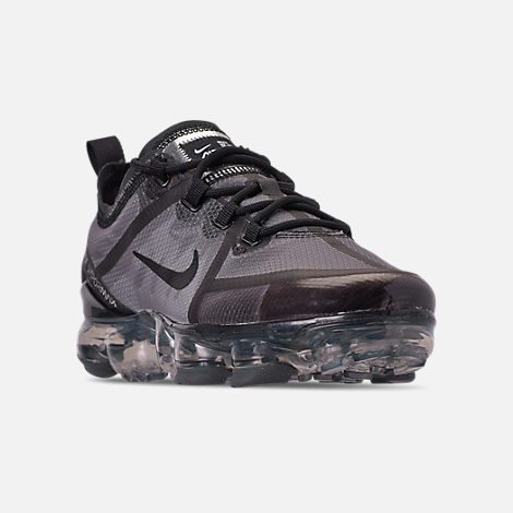 Three Quarter view of Big Kids' Nike Air VaporMax 2019 Running Shoes in Black/Black/Black