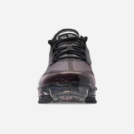 Front view of Big Kids' Nike Air VaporMax 2019 Running Shoes in Black/Black/Black