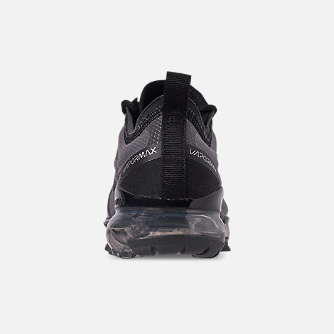 Back view of Big Kids' Nike Air VaporMax 2019 Running Shoes in Black/Black/Black