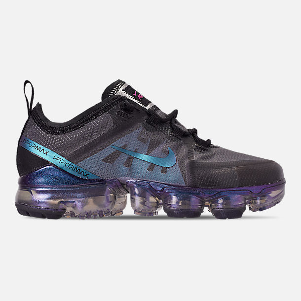 Right view of Big Kids' Nike Air VaporMax 2019 Running Shoes in Black/Laser Fuchsia/Anthracite