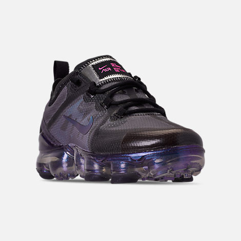 Three Quarter view of Big Kids' Nike Air VaporMax 2019 Running Shoes in Black/Laser Fuchsia/Anthracite