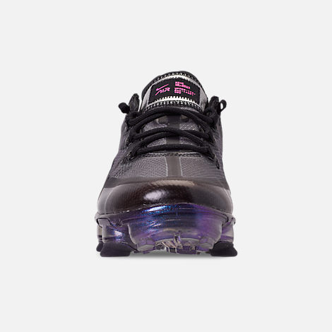 Front view of Big Kids' Nike Air VaporMax 2019 Running Shoes in Black/Laser Fuchsia/Anthracite