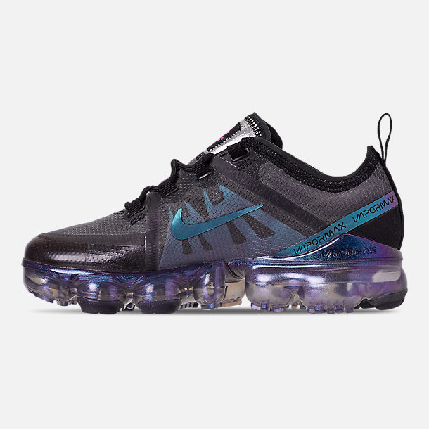 Left view of Big Kids' Nike Air VaporMax 2019 Running Shoes in Black/Laser Fuchsia/Anthracite
