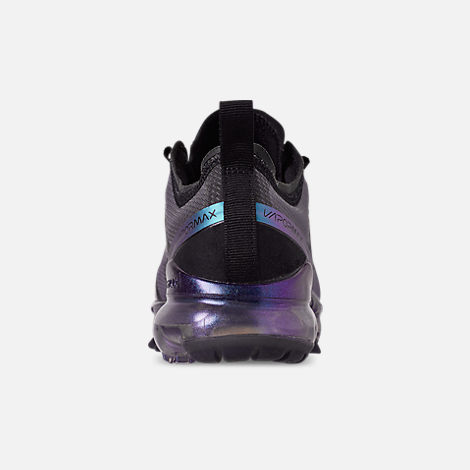 Back view of Big Kids' Nike Air VaporMax 2019 Running Shoes in Black/Laser Fuchsia/Anthracite