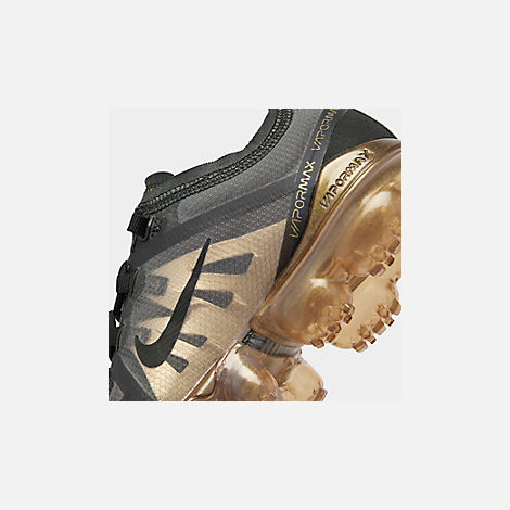 Front view of Big Kids' Nike Air VaporMax 2019 Running Shoes in Black/Black/Metallic Gold