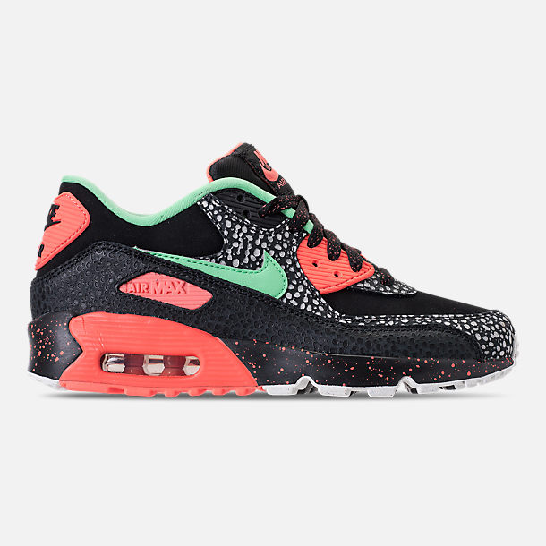 Right view of Boys' Grade School Nike Air Max 90 QS Casual Shoes in Black/Green Glow/Crimson Pulse/Vast Grey
