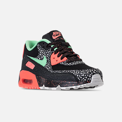 Three Quarter view of Boys' Grade School Nike Air Max 90 QS Casual Shoes in Black/Green Glow/Crimson Pulse/Vast Grey