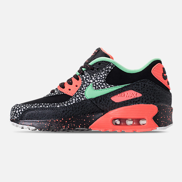 Left view of Boys' Grade School Nike Air Max 90 QS Casual Shoes in Black/Green Glow/Crimson Pulse/Vast Grey