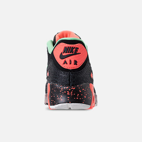 Back view of Boys' Grade School Nike Air Max 90 QS Casual Shoes in Black/Green Glow/Crimson Pulse/Vast Grey