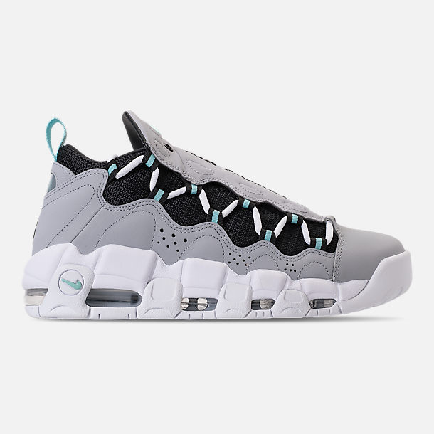 Right view of Men's Nike Air More Money Basketball Shoes in Wolf Grey/Island Green/Black