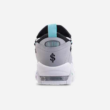 Back view of Men's Nike Air More Money Basketball Shoes in Wolf Grey/Island Green/Black