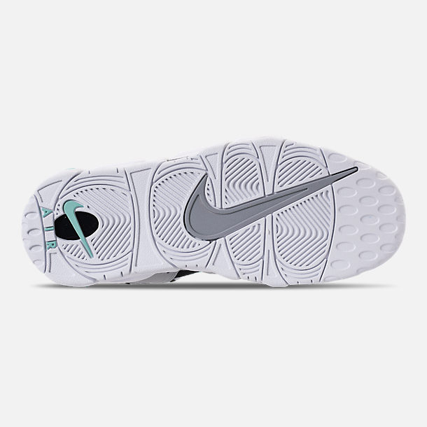 Bottom view of Men's Nike Air More Money Basketball Shoes in Wolf Grey/Island Green/Black