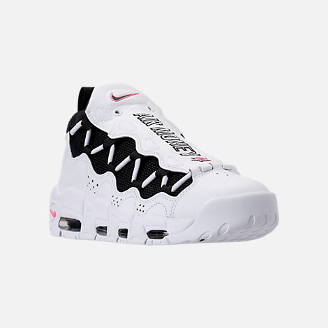 Three Quarter view of Men's Nike Air More Money Basketball Shoes in White/Black/Coral/Chalk White