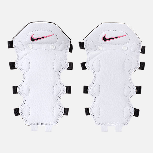 Left view of Men's Nike Air More Money Basketball Shoes in White/Black/Coral/Chalk White