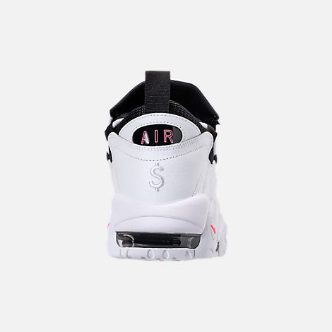 Back view of Men's Nike Air More Money Basketball Shoes in White/Black/Coral/Chalk White