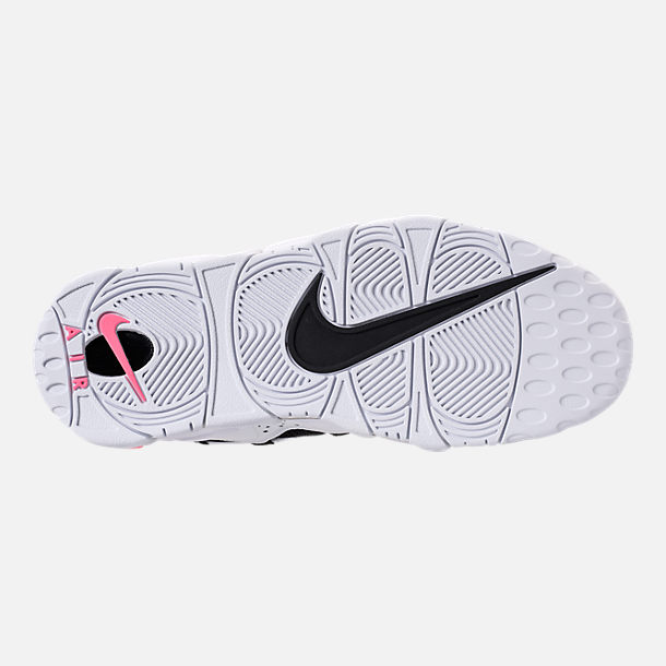 Bottom view of Men's Nike Air More Money Basketball Shoes in White/Black/Coral/Chalk White