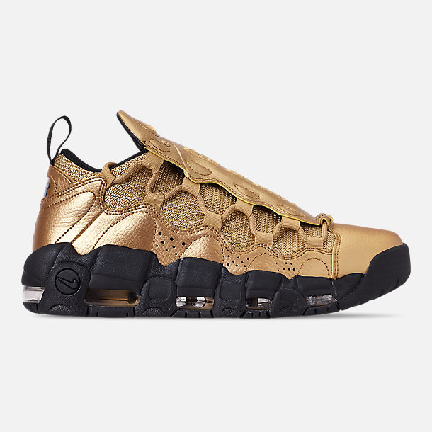 Right view of Men's Nike Air More Money Basketball Shoes in Metallic Gold/Black