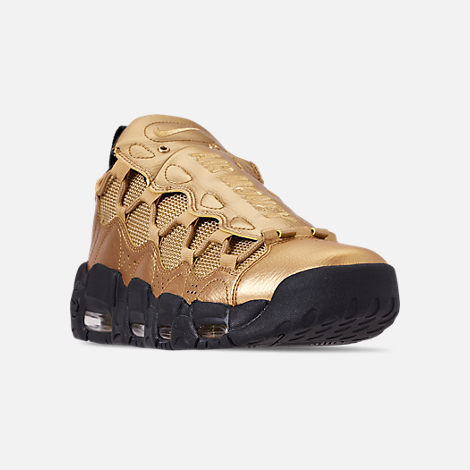 Three Quarter view of Men's Nike Air More Money Basketball Shoes in Metallic Gold/Black