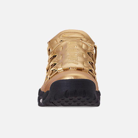 Front view of Men's Nike Air More Money Basketball Shoes in Metallic Gold/Black