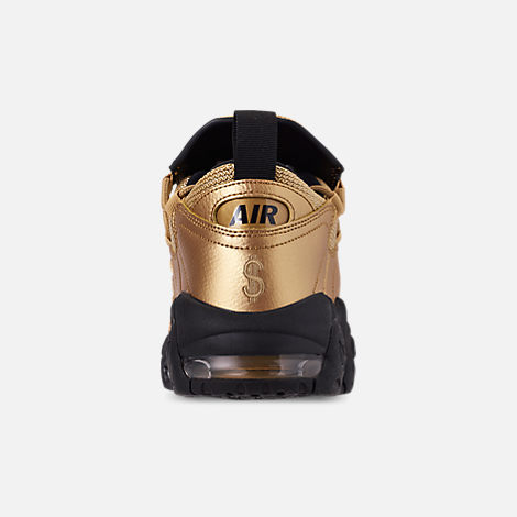 Back view of Men's Nike Air More Money Basketball Shoes in Metallic Gold/Black