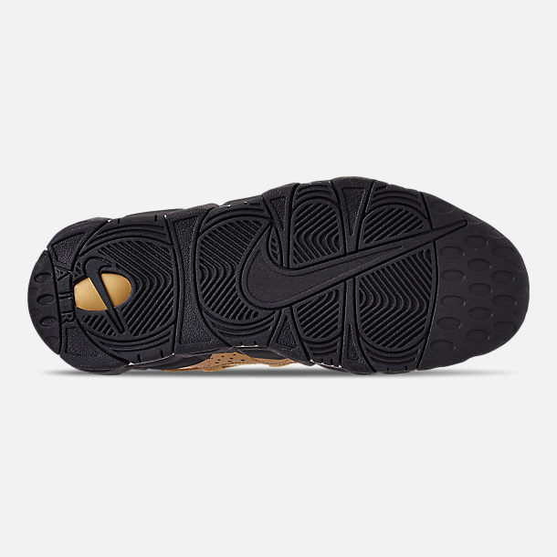 Bottom view of Men's Nike Air More Money Basketball Shoes in Metallic Gold/Black