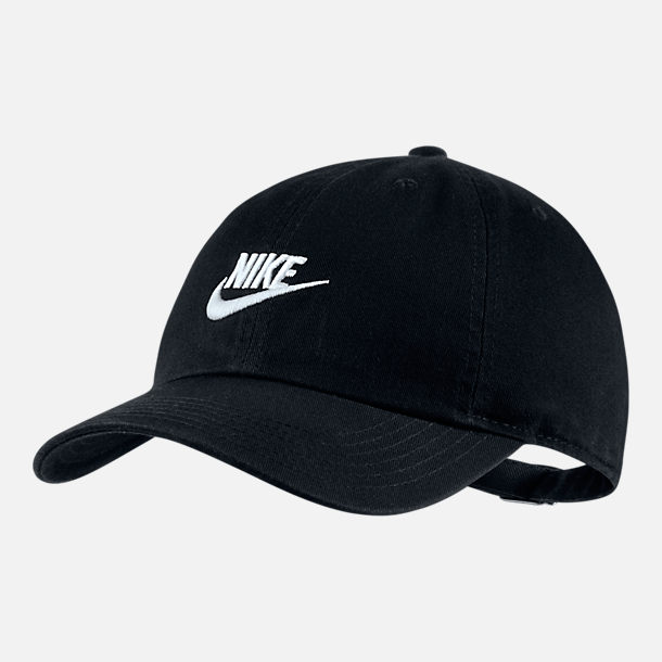 Front view of Kids' Nike Heritage86 Strapback Hat in Black/White