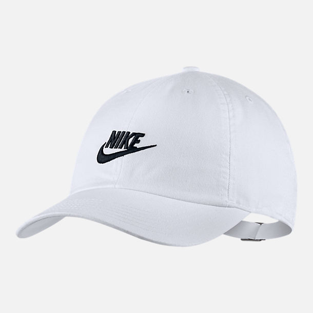 Front view of Kids' Nike Heritage86 Strapback Hat in White/Black
