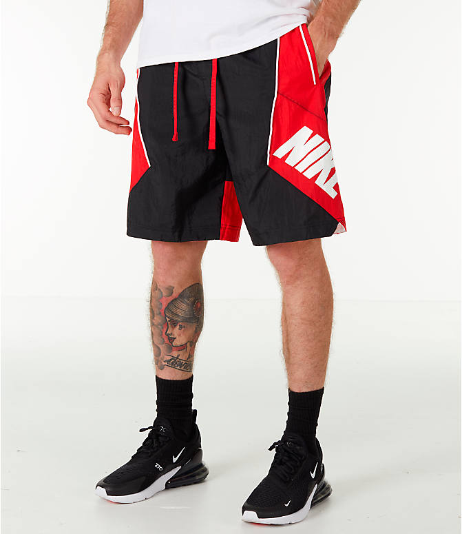 Front view of Men's Nike Throwback Basketball Shorts in Black/Red