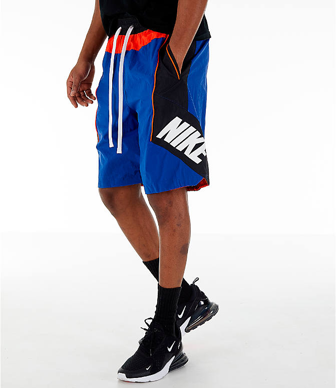 Front view of Men's Nike Throwback Basketball Shorts in Rush Blue/Black