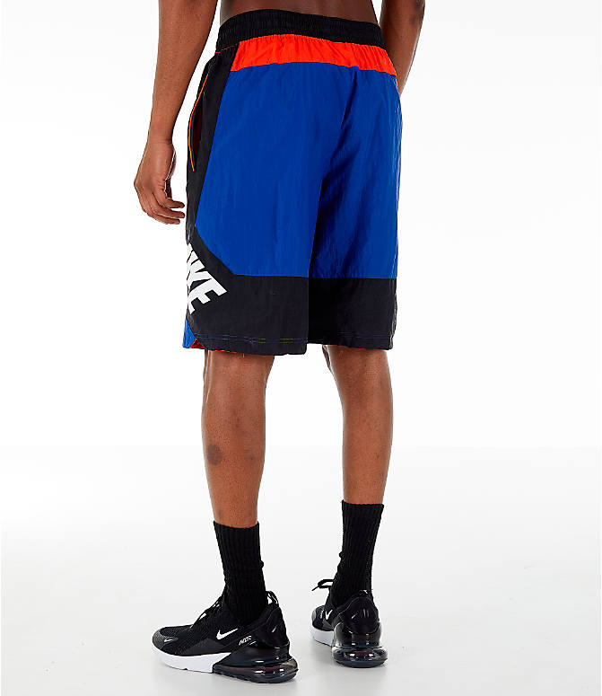 Back Left view of Men's Nike Throwback Basketball Shorts in Rush Blue/Black