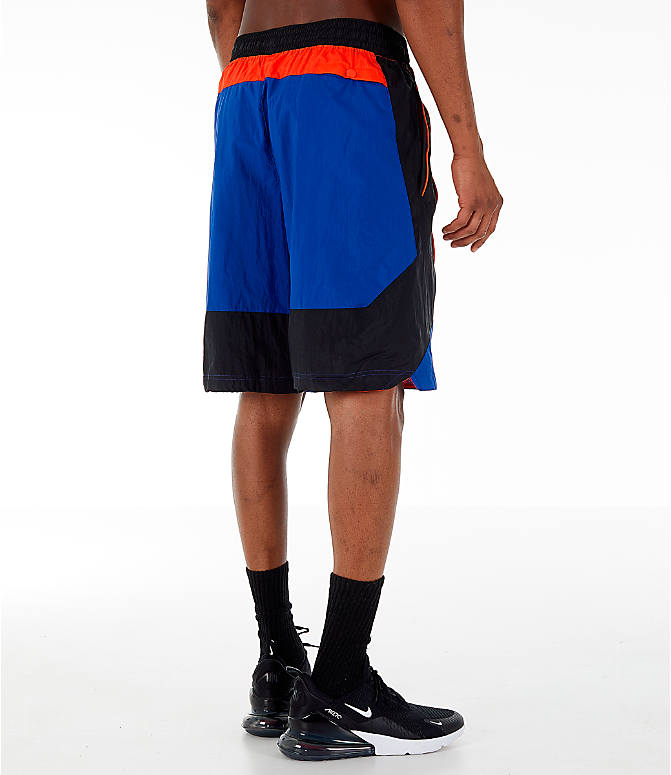 Back Right view of Men's Nike Throwback Basketball Shorts in Rush Blue/Black